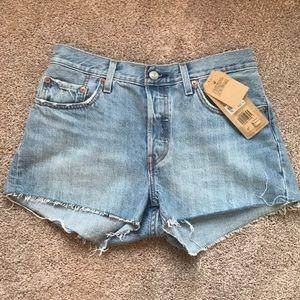 Levi's raw hem denim shorts